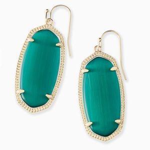 NWT Elle Gold Drop Earrings In Emerald Cat's Eye